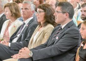 De g. À dr.: Friedrun et Didier Burkhalter, Christine Leuenberger et Stéphane Constantini. ©Pierre Blanchard