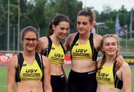 Les championnes vaudoises du 4x100m. De g. À dr.: Zoé Deriaz, Océane Barraud, Lisa Bertoldi et Sophie Paroz. ©Nicolas Verraires