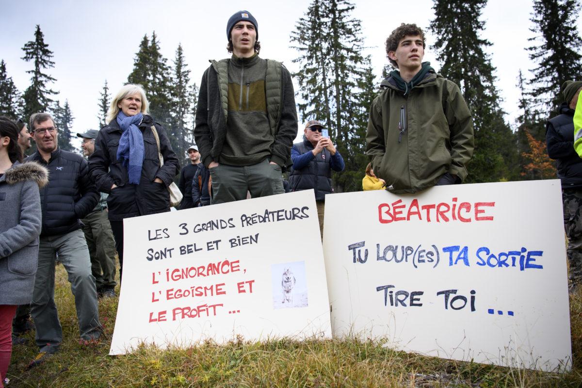 Les défenseurs du loup manifestent dans le Jura vaudois
