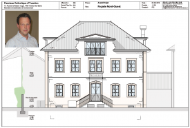 La façade de l'école catholique retrouvera son aspect d'origine. En médaillon, Pascal Ruedin, vice-président du Conseil de Paroisse, et président de l'assemblée de mardi. ©Dolci Architectes/Raposo