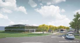 La première étape du projet prévoit la création de 422places réparties sur deux étages au sein d'une construction dont la façade sera végétalisée afin d'apporter de l'élégance à l'ensemble. © Groupement Architram - Stucky - Gruner - SRG