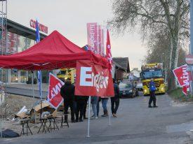 Ouvriers et syndicalistes avaient manifesté, mardi dernier, à Yverdon-les-Bains. ©Isidore Raposo