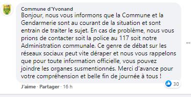 La Commune d'Yvonand intervient sur Facebook pour éviter les dérapages